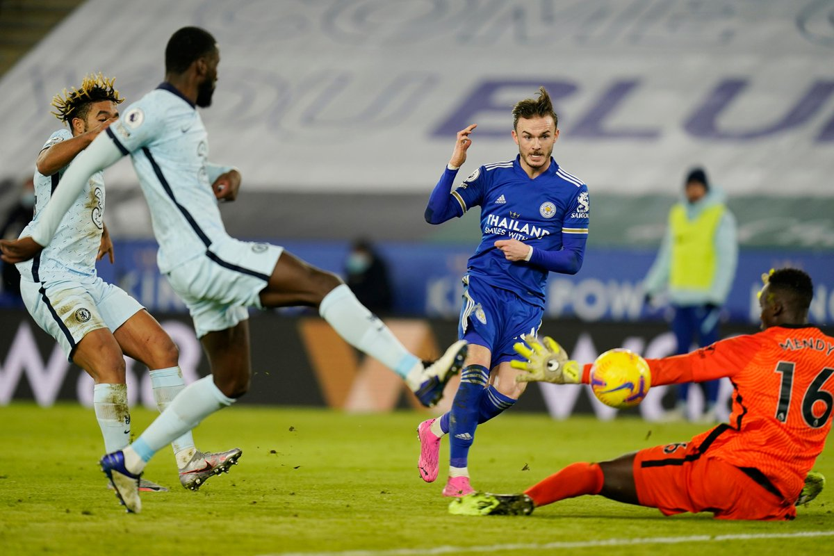 HALF-TIME Leicester 2-0 Chelsea  Goals from Ndidi and Maddison have put the hosts firmly in control  #LEICHE