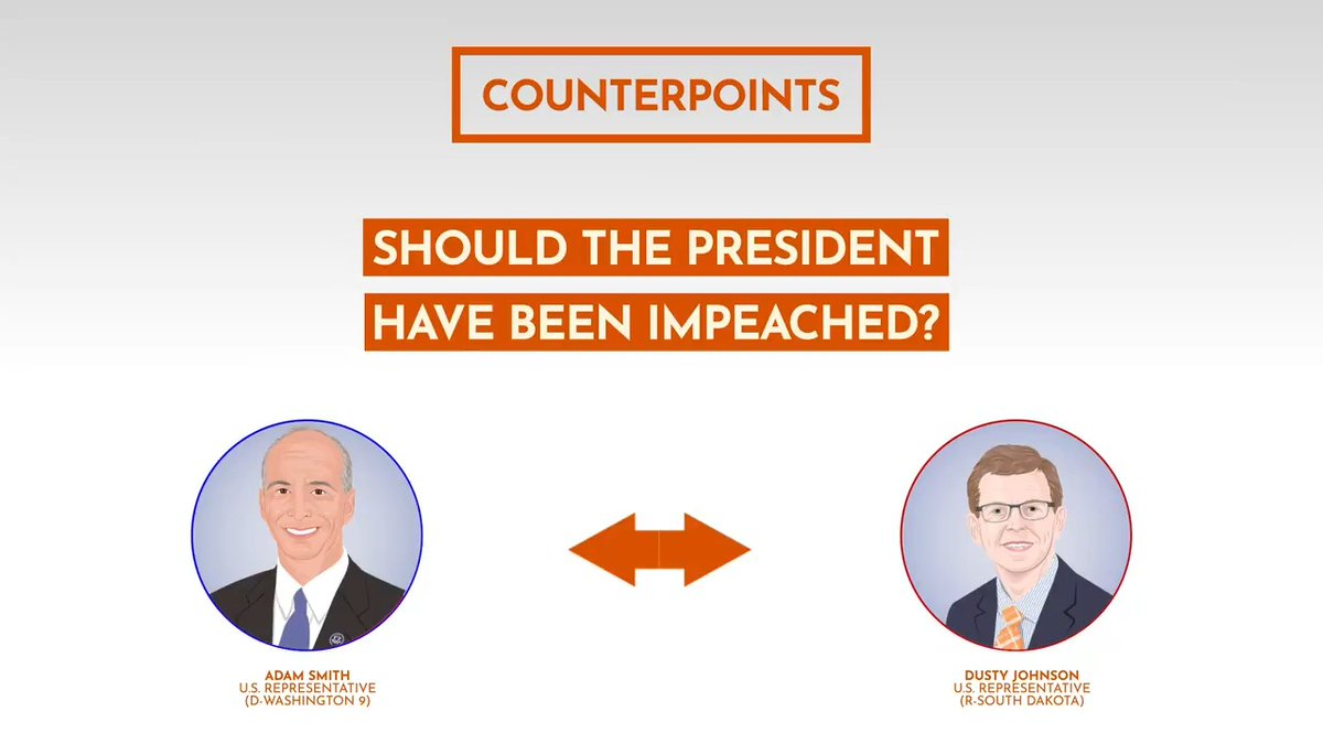 This past Wednesday, for the first time in history, the President of the United States was impeached for a second time. Hear @RepDustyJohnson & @RepAdamSmith discuss whether they think President Trump should have been impeached in this #Counterpoint 👉