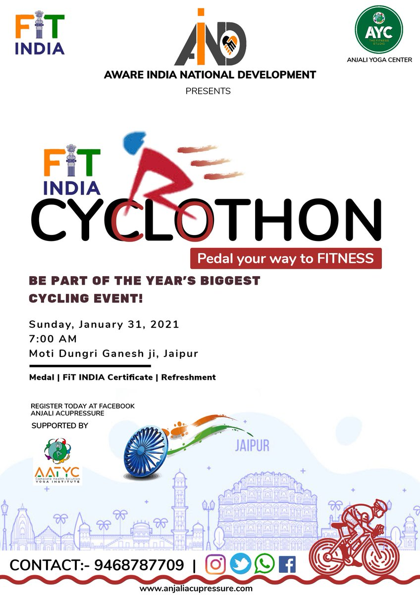 Registration Open : Certificate |🏅 Medal | Refreshment  FiT INDIA CYCLOTHON #NewIndiaFitIndia #FitIndia #fit #yoga #cycle #run #cyclothon #fitness #aumarathon #marathon #pinkcity #jaipur #jaipurcycle #smartcity #coronaupdate #PMOIndia #womenclub #sports