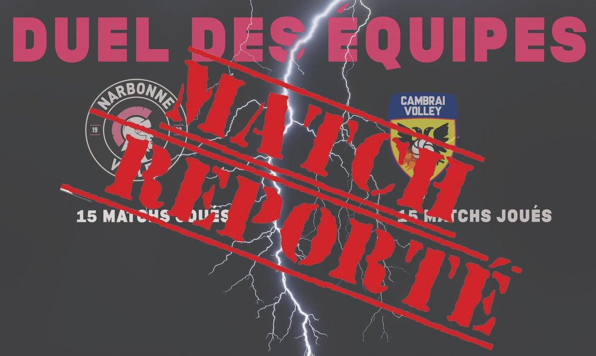 Le duel entre le Cambrai Volley et les Centurions est reporté à une date...