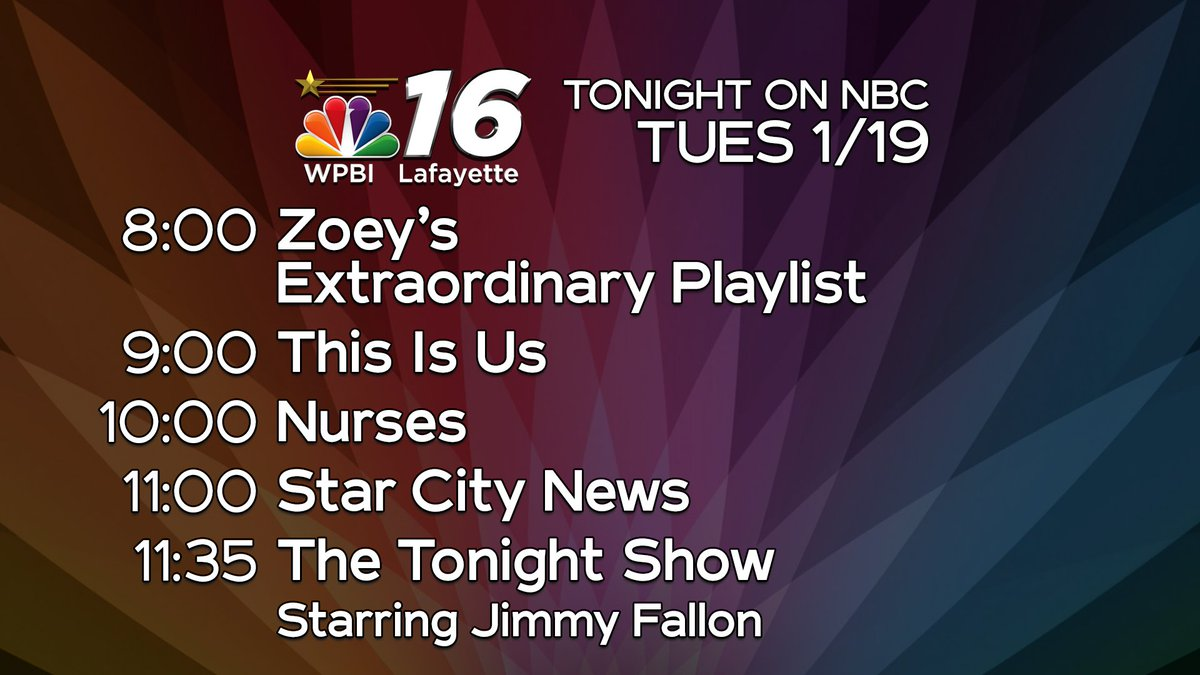 Tonight on NBC is all-new with ZoeysPlaylist, #ThisIsUs, and #Nurses.  Then, stay tuned for #StarCityNews at 11 and #FallonTonight at 11:35 on NBC16 WPBI.