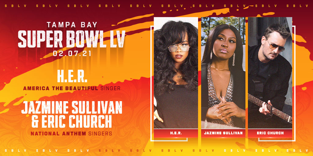 GRAMMY-nominated artists @ericchurch and @jsullivanmusic will join us in Tampa Bay to sing the National Anthem at Super Bowl LV!  GRAMMY-award winning artist @HERMusicx will sing America the Beautiful.  Tune-in on Feb 7 to the Super Bowl on CBS Kick-Off Show at 6pm ET