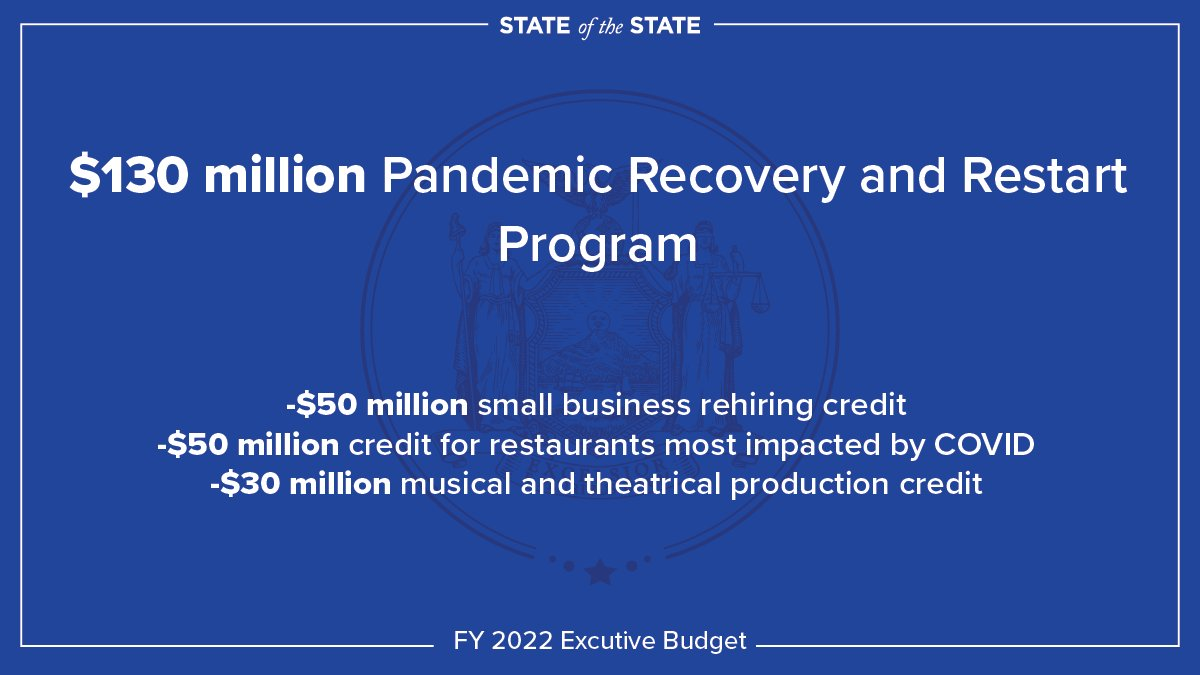 As part of my FY 2022 Executive Budget, I'm proposing a $130 million Pandemic Recovery and Restart Program.  We need to support the small businesses, restaurants, and theaters that have suffered the most during the COVID crisis.