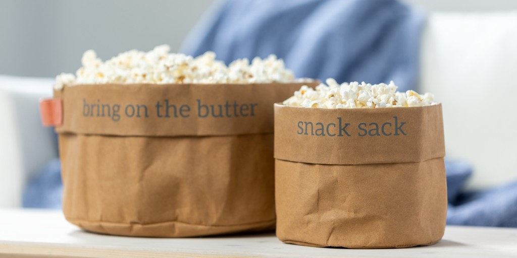 What's poppin'? 🍿 If you need an excuse to have a family movie night, this is it! #NationalPopcornDay  Bring on the butter and pass the snacks in our new washable paper popcorn bags: