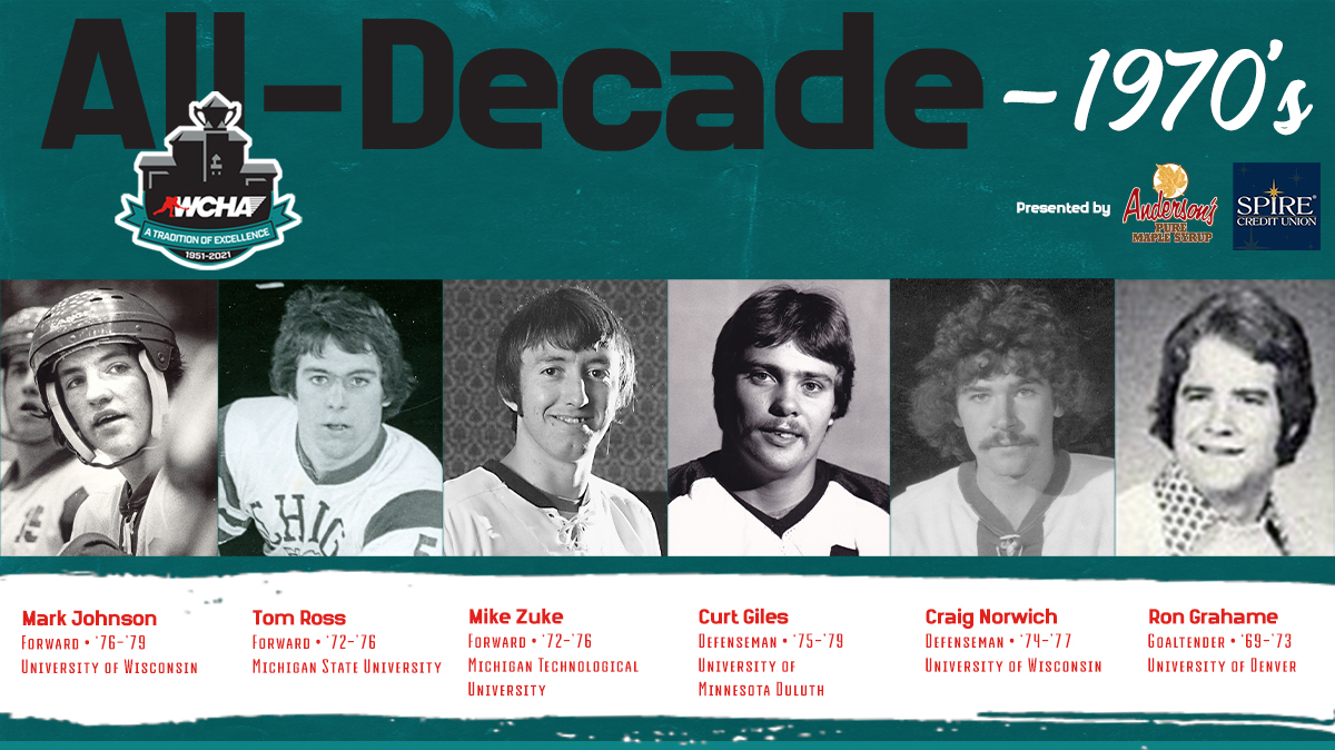 The #WCHA 1970s All-Decade Team honors six record-setting players.   📰   #WeAreWCHA   #70YearsofExcellence