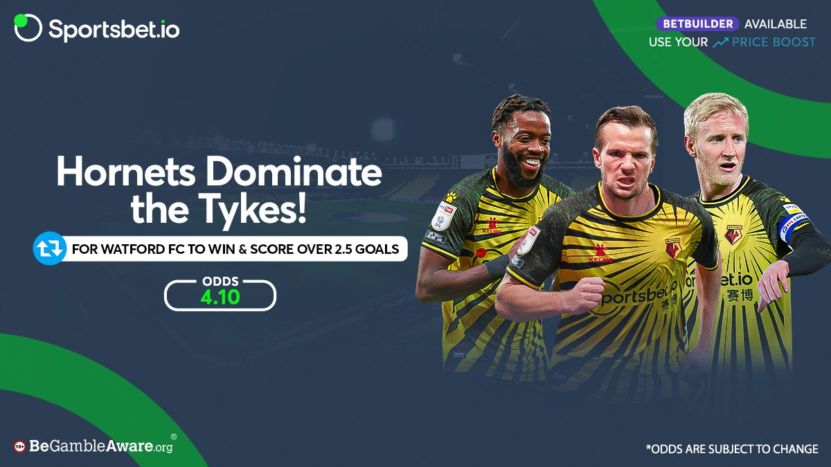 The Hornets have won their last 3️⃣ home games against the Tykes, scoring 9️⃣ goals in total! 🐝 🔥  Will @WatfordFC get another win at #VicarageRoad and score over 2.5 goals? 💯🏟️   Odds – 4.10 🚀  Head to  and win big with the dominant Hornets! 🤑  #WATBAR