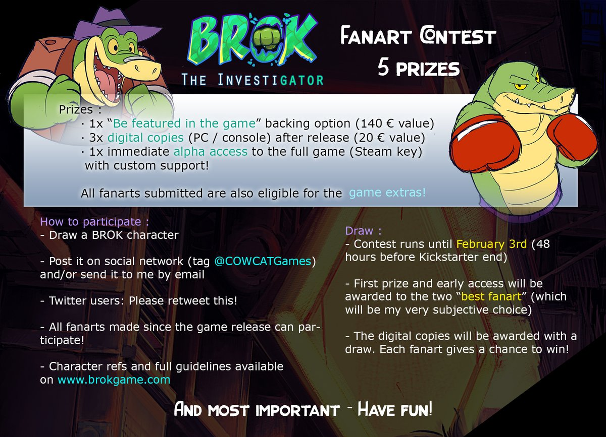"""▶️BROK Fanart contest! ◀️  🎁5 prizes to win, including a spot for """"Your character in the game!""""  The Kickstarter has reached half of its run. Let's motivate you!   RT and follow appreciated. Full guidelines :"""
