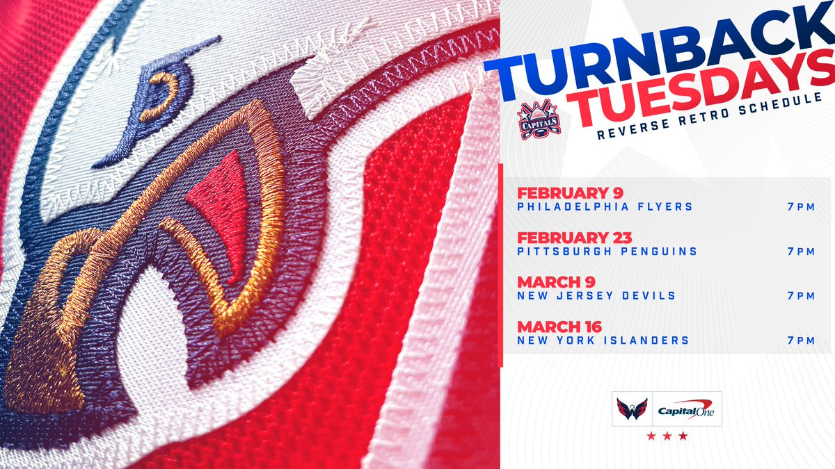 🦅 CAWWWW!!  We'll be turning back the clock and rocking our #ReverseRetro jerseys for #TurnbackTuesday for four games this season!  Full Details:   #ALLCAPS   @CapitalOne