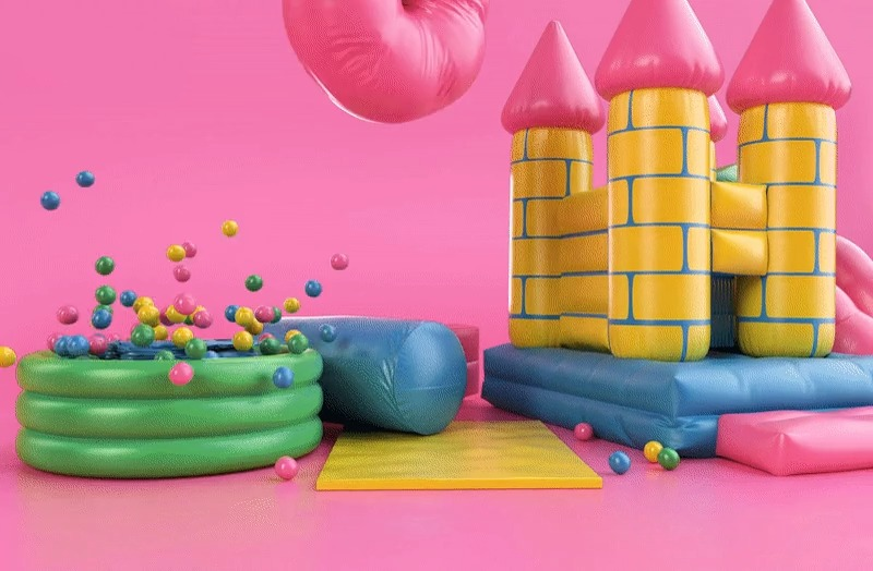 Bright and playful inflatable type by Thomas Burden — see more animated typography >
