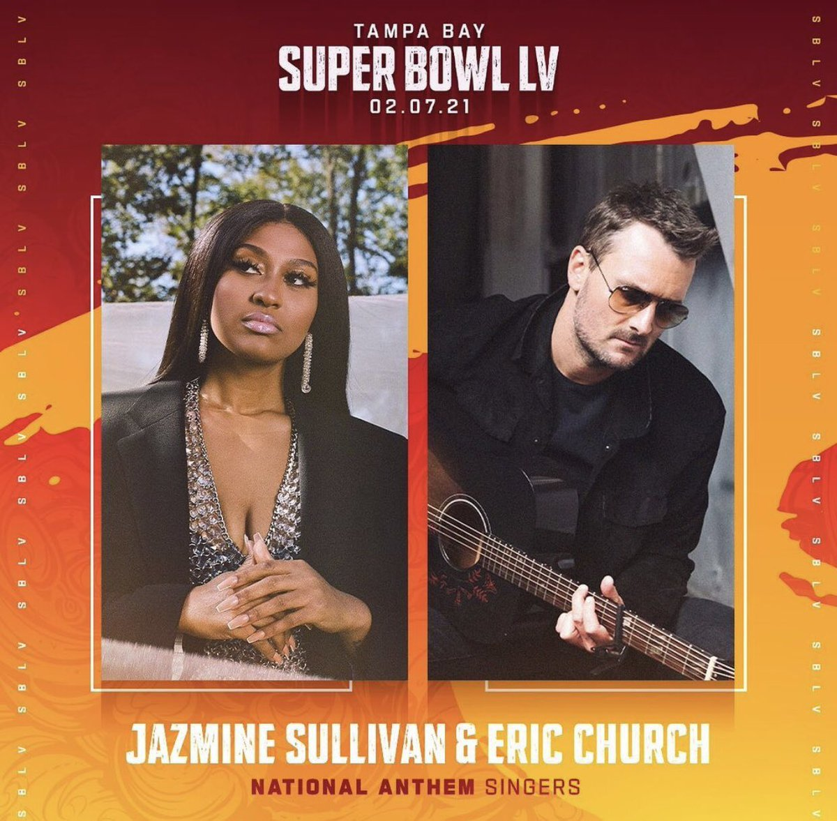 .@JSullivanMusic & @EricChurch to perform the National Anthem at the Super Bowl on February 7th. 🏈