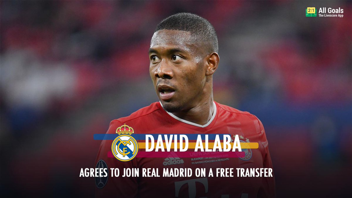 Done deal for Alaba!🔥 After months of speculation, the Austrian International David Alaba is going to leave Bayern Munich and reinforce Real Madrid in the end of the current season.✍️ Download our app:   #Realmadrid #Allgoals # DavidAlaba #Bayernmunich