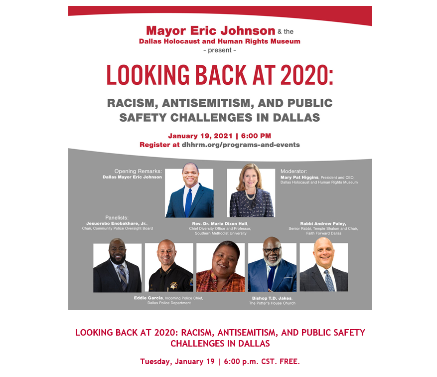 As we celebrate Dr. Martin Luther King Jr. yesterday and National Day of Healing today (www.https://t.co/bm4KNxkGEs) we want to share details regarding a local community event this evening presented by Mayor Johnson and the Dallas Holocaust and Human Rights Museum. #HowWeHeal https://t.co/OmgmNsj8nw