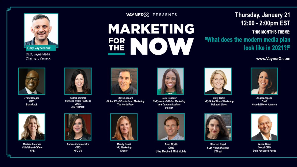 THIS SPEAKER LINEUP 👏 We can't wait for these incredible leaders to join @garyvee on #MarketingForTheNow this Thursday, January 21 from 12 - 2pm ET!  Don't miss our first episode of 2021 and join our community today → https://t.co/392OHXqUxd https://t.co/hGLoOoG6lp