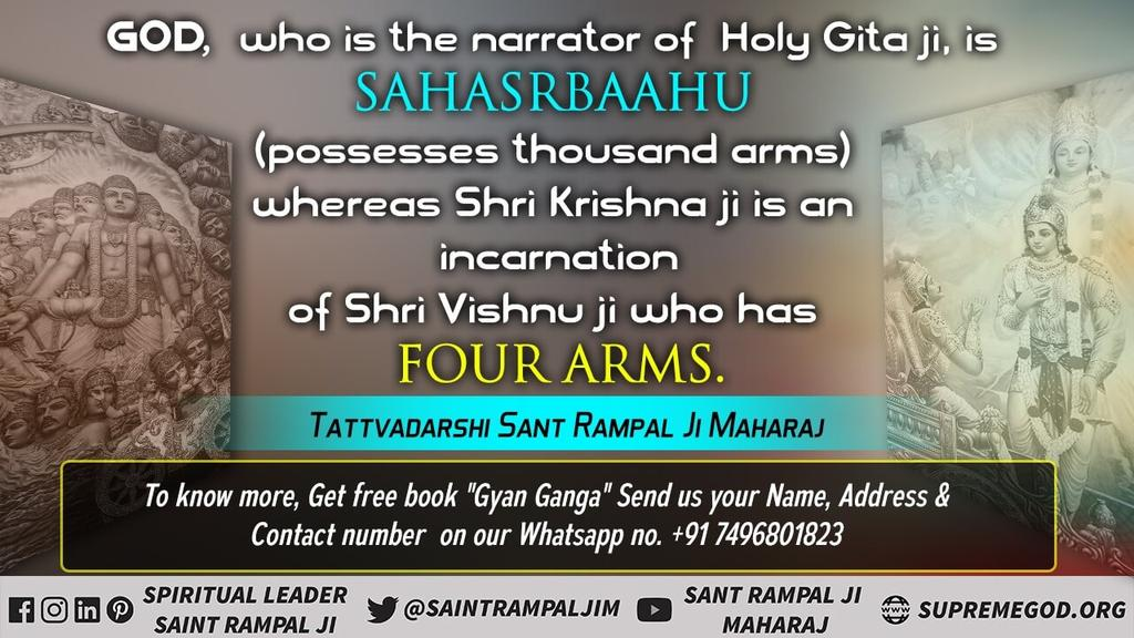 @SaintRampalJiM #MustListen_Satsang  The speaker of Gita has mentioned the glory of the Immortal  God other than him in Chapter 13:12.  Who is that Immortal God ? For More Information Visit Satlok Ashram YouTube Channel #thursdaymorning @SaintRampalJiM