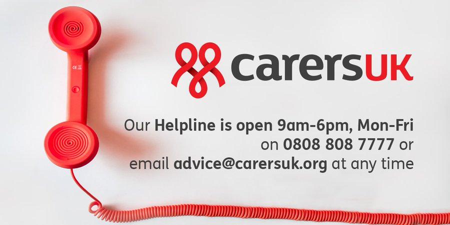 Are you caring for someone and need information or support? Call our Helpline on 0808 808 7777 from Monday to Friday, 9am – 6pm or email advice@carersuk.org at any time.