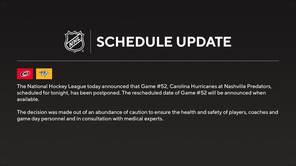 Replying to @PR_NHL: NHL statement on tonight's @Canes vs. @PredsNHL game.
