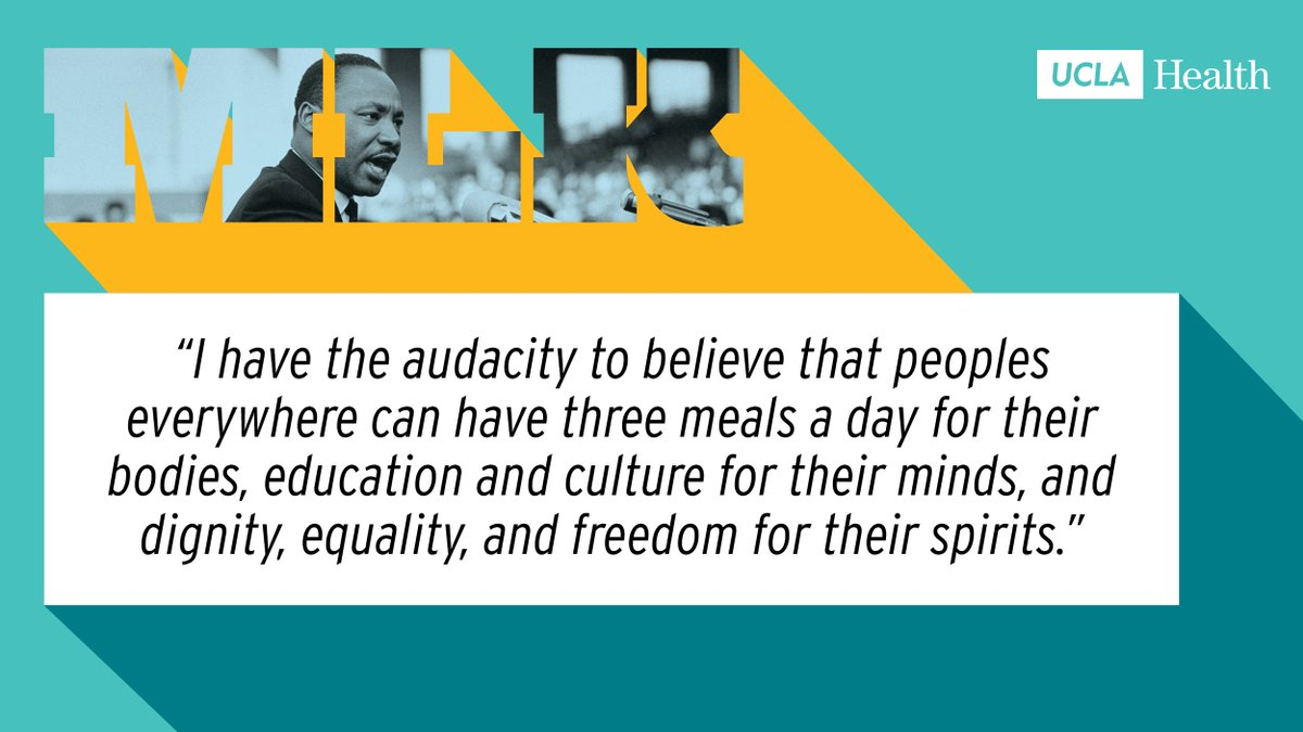 At UCLA Health, we strive to honor Dr. Martin Luther King Jr.'s legacy today and every day.   This #KingWeek, we're excited to reestablish our commitment to racial justice because we believe that an equitable society is a healthy society for everyone. https://t.co/5mj3PHRUvI