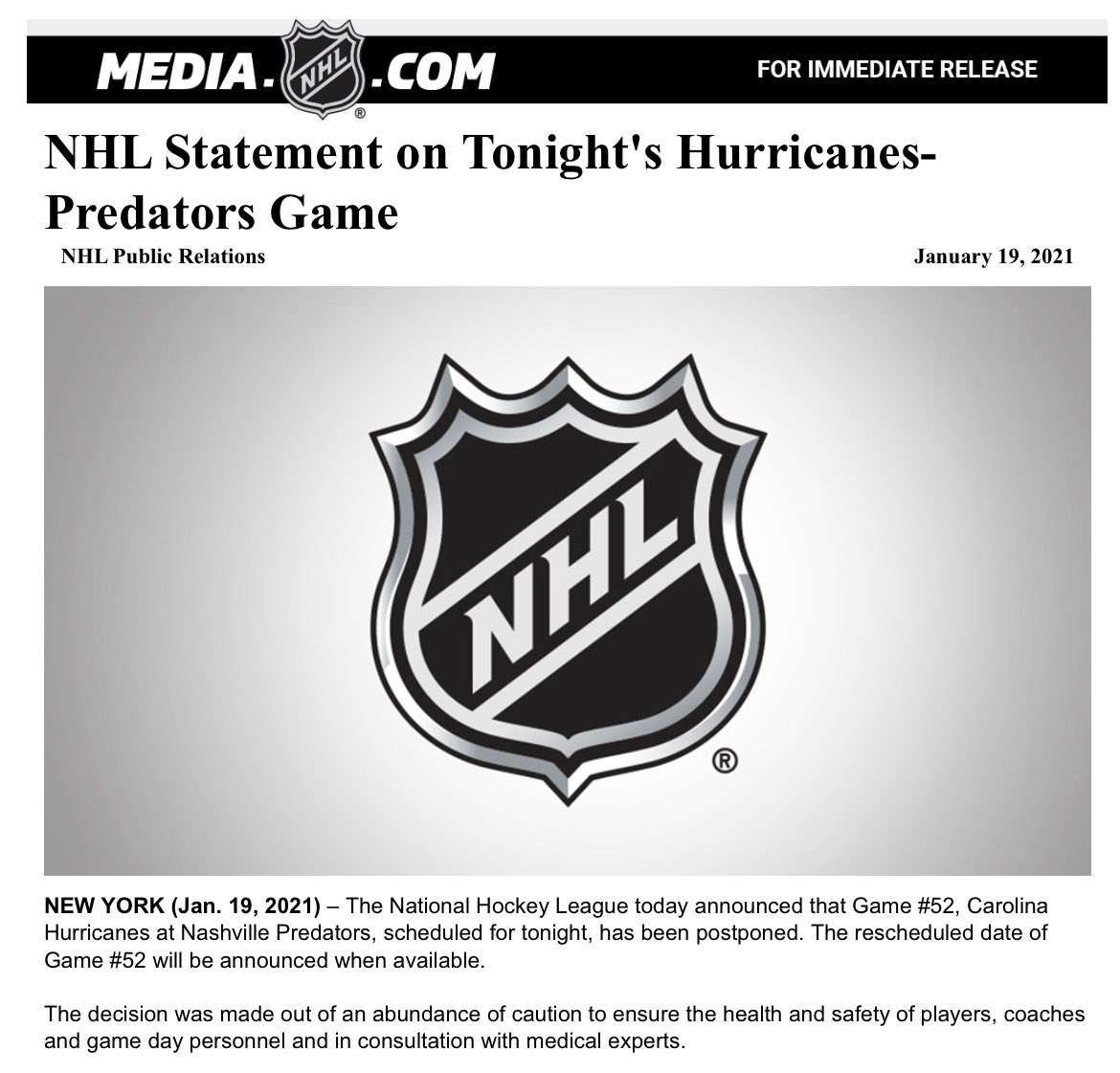 NHL announces that tonight's #Preds vs. Canes game has been postponed. Statement below: