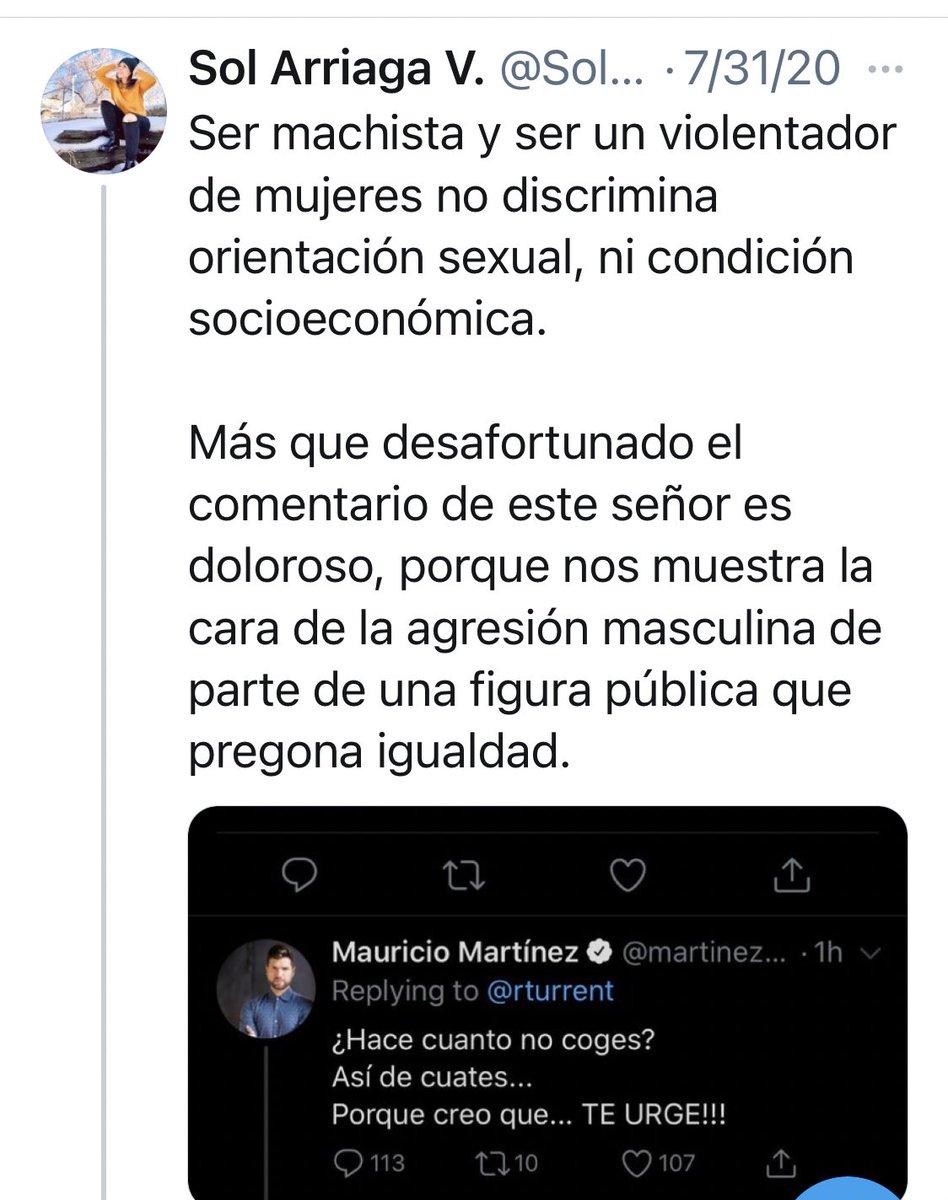 @SolArriagaV Ser machista y ser violentador de personas no discrimina género, ni condición socioeconómica.  Más que desafortunado el comentario de esta señora es patético porque muestra la cara de la agresión y la doble moral de parte de una persona que pregona igualdad. https://t.co/NFr8QUWqiN