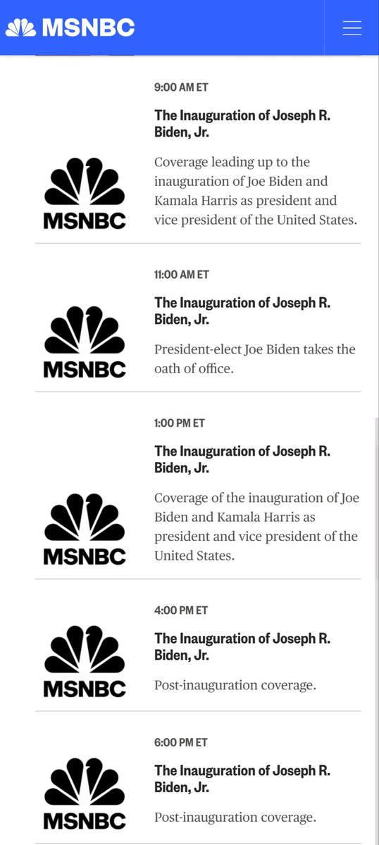 For those of you who stream your content, this is from @MSNBC's website. #InaugurationDay #Inauguration2021 #Inauguration #BidenHarrisInauguration #StreamInauguration