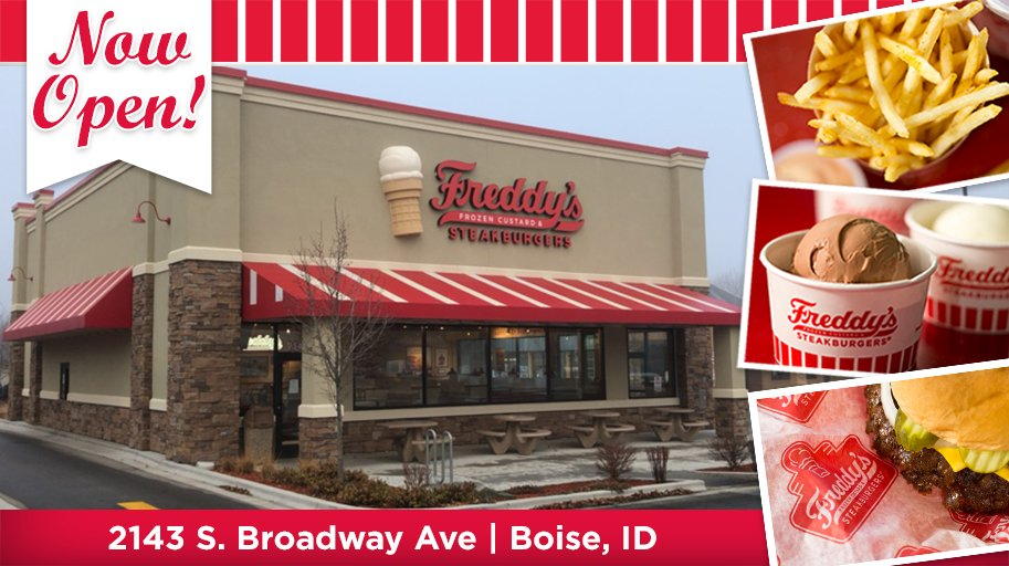 Boise, we are now open and ready to serve you the Freddy's Way! Stop by and see us!