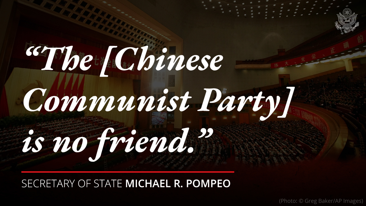 Example: The Chinese Communist Party is not our friend.