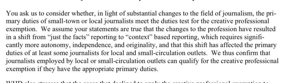 Trump's Labor Dept just issued a last-minute 'guidance letter' stating that local news reporters are doing 'creative' work and therefore can be excluded from minimum wage and overtime protections. This is something unnamed publishers would have asked of the administration:
