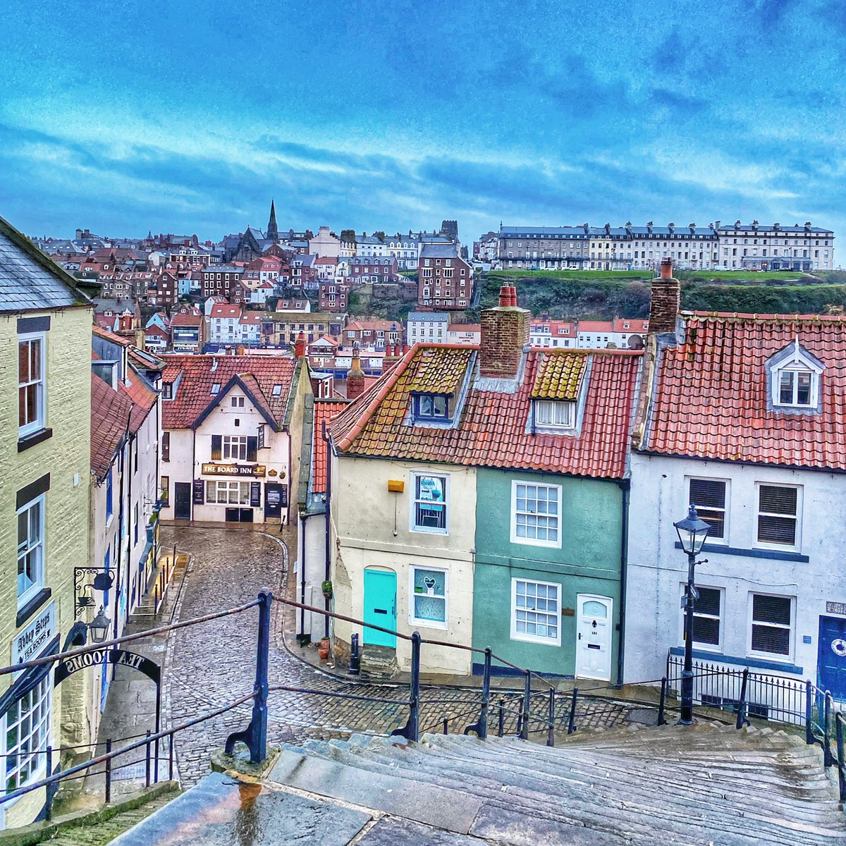 'Somewhere on your journey, don't forget to turn around and enjoy the view' #Whitby #thismorning #tuesdayvibe #stepbystep #view #artyfilter