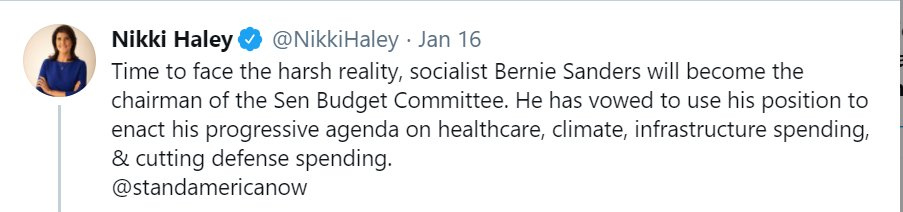 @NikkiHaley @standamericanow Imagine believing  - Helping people w/healthcare - Addressing climate crisis - Creating millions good jobs w/new infrastructure - Cutting defense waste/fraud is bad Rmbr this whn @Nikkihaley runs for prez.  #TrumpsLastDay #maga Multiculturalism #BidenHarrisInauguration Dr. Levine