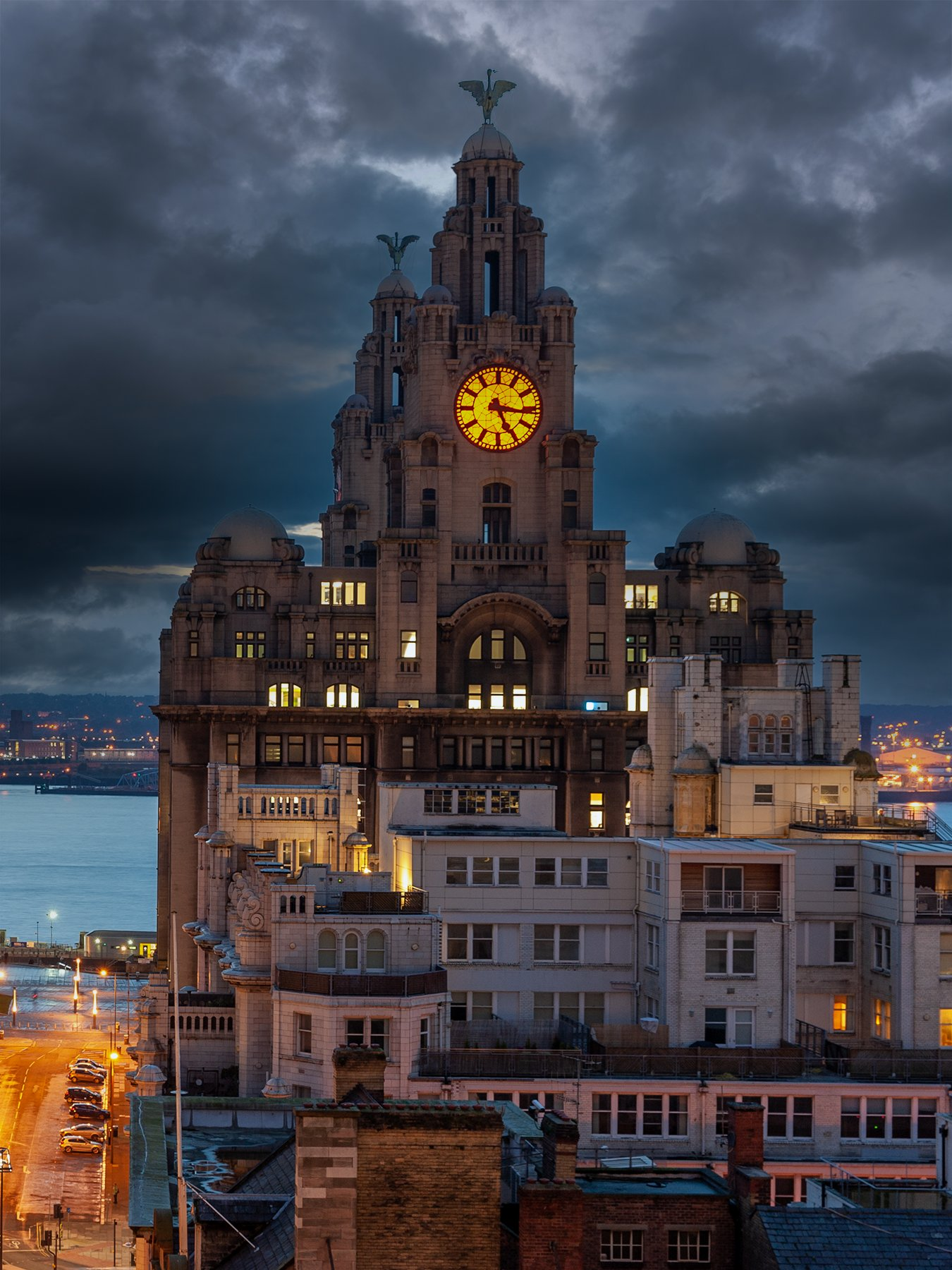 Rooftop view of Liverpool at dusk