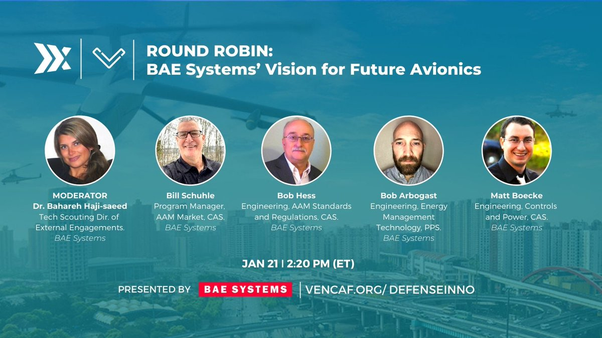 #Thursday! Join our #Defense Innovation Conference.  All you need to know about ✈️ Advance #AirMobility, emerging standards & regulations for energy management systems.   ✅RSVP:  @vencafglobal @vencafePVD @BAESystemsplc