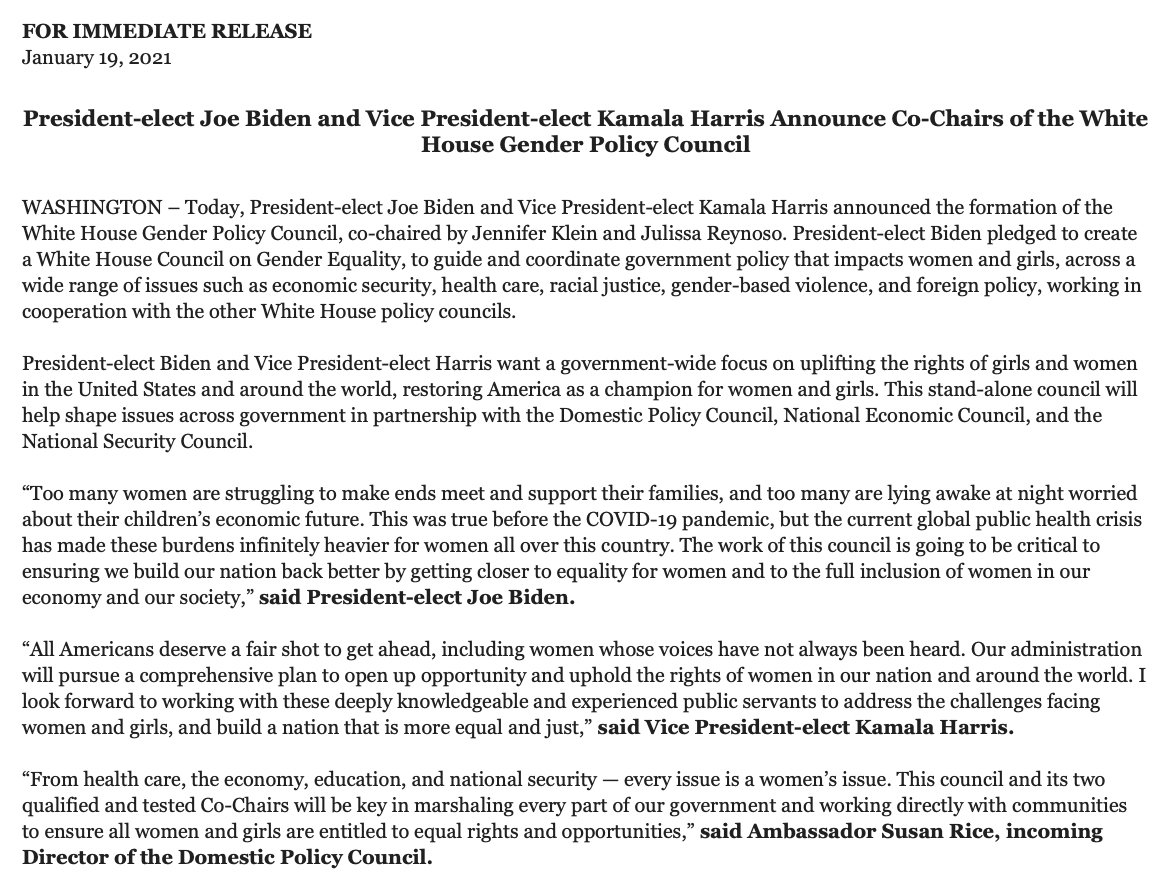 NEW: Biden team announces formation of White House Gender Policy Council.