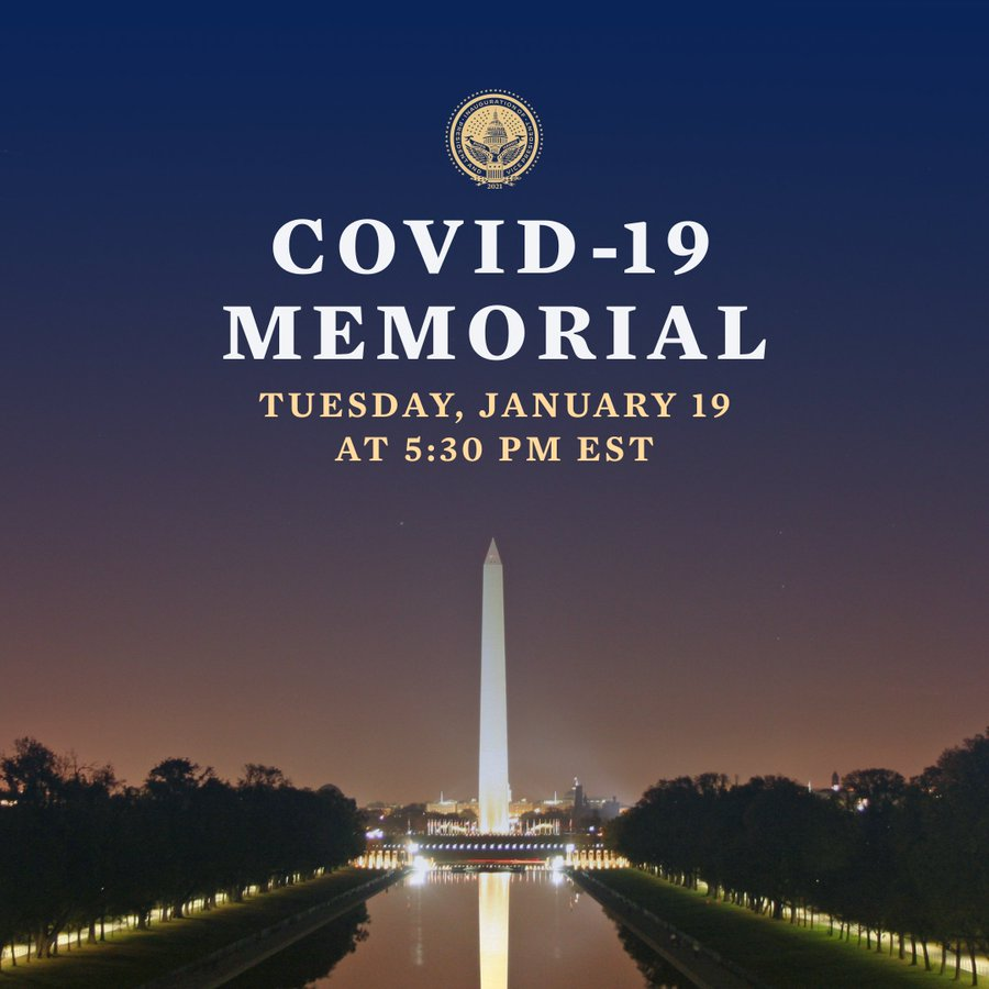 Today, our country is expected to mark 400,000 people confirmed lost to COVID-19.   Tonight, President-elect @JoeBiden will lead us in a moment of national mourning to honor their lives and their memories.