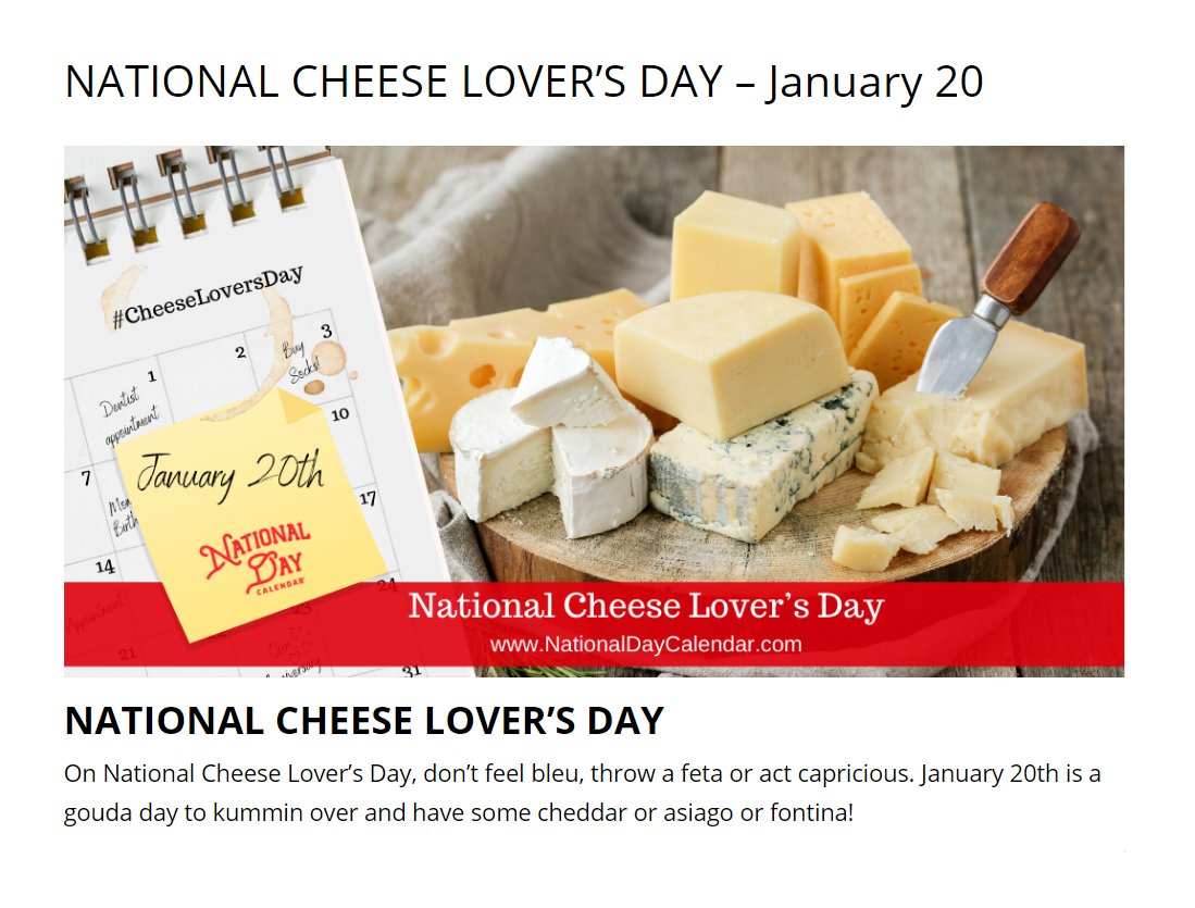 TOMORROW IS NATIONAL CHEESE LOVER'S DAY (US)!!   IT JUST SO HAPPENS TO FALL ON @JoeBiden INAUGURATION!................COINCIDENCE??!!  YES.....  But still.....a good reason to eat more cheese! ❤️🧀