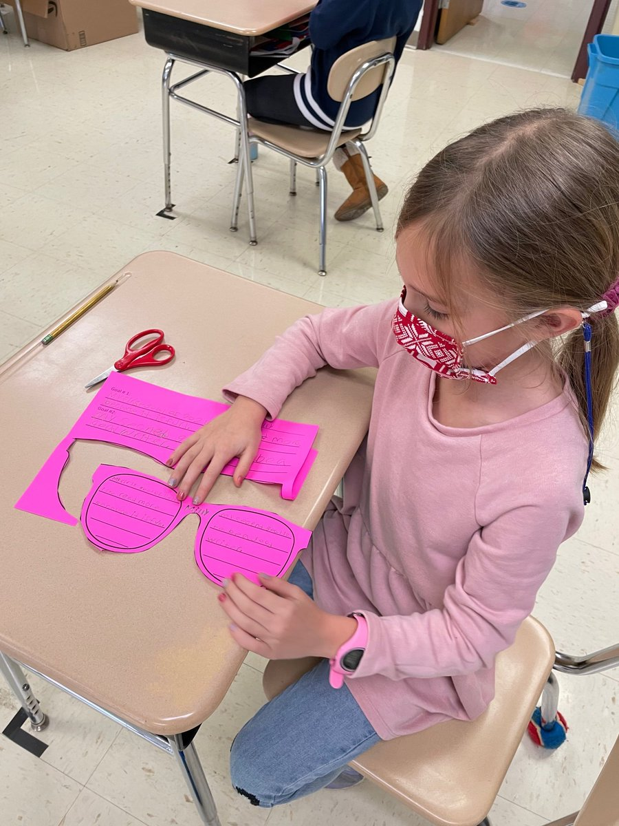 Miss Kent's 2nd graders wrote goals for the #newyear. Their futures are so bright, they need to wear shades! #socialemotionallearning #SEL #YourCommunitySchools