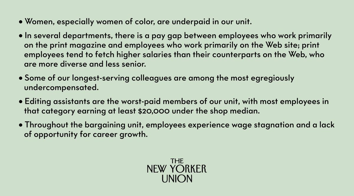 The main conclusion of our analysis is that most unionized employees of @newyorker are underpaid, many severely so. Here are some other takeaways: https://t.co/AW39vEEepA https://t.co/AnP3TndUBT