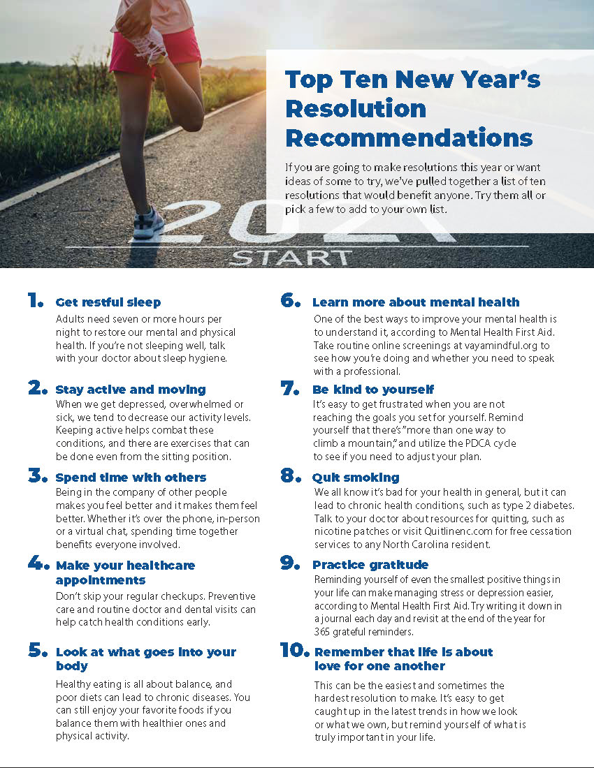 """2020 was an unusual and tough year, but a #newyear brings new hope. Making a few resolutions can help bring us toward that sense of """"normalcy"""" that we may have lost. Look through our Top 10 #resolution recommendations for ideas. It's not too late to make a change!"""