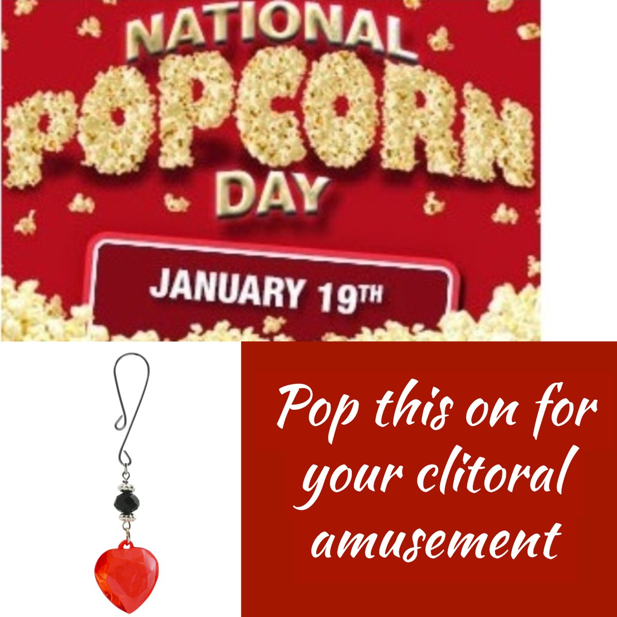 National Popcorn Day - Pop this on for you Clitoral Amusement   #phsinternational #NationalPopcornDay #clit #clitoral #vibrator #vibration #clitoralamusement #sex #retail #sales #love #life #beautiful #travel #fitness #happy #repost #igers