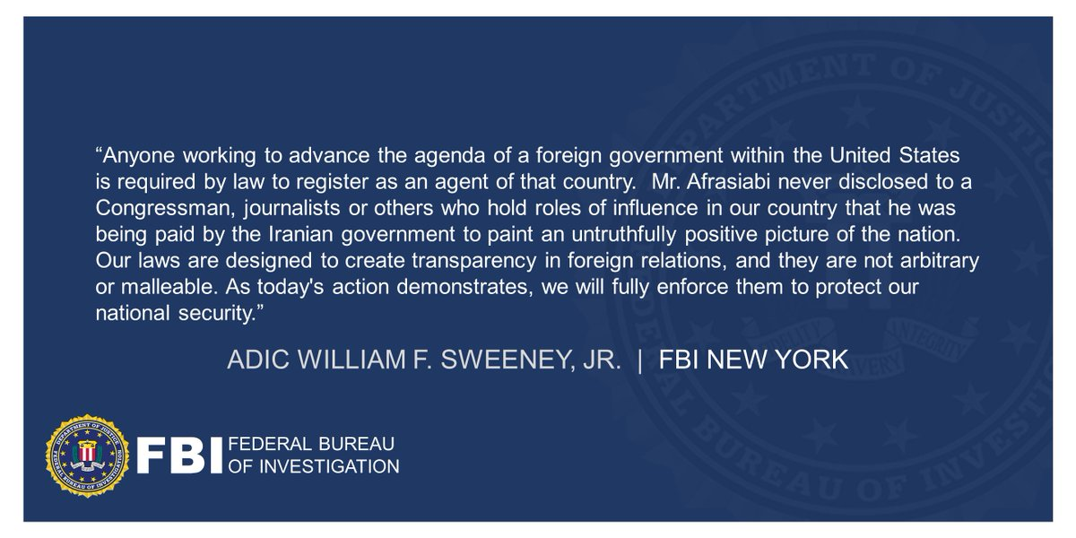 Political Scientist Author Charged with Acting as an Unregistered Agent of The Iranian Government (announced w/ @EDNYNews, @FBIBoston, @TheJusticeDept ) ADIC Sweeneys statement below