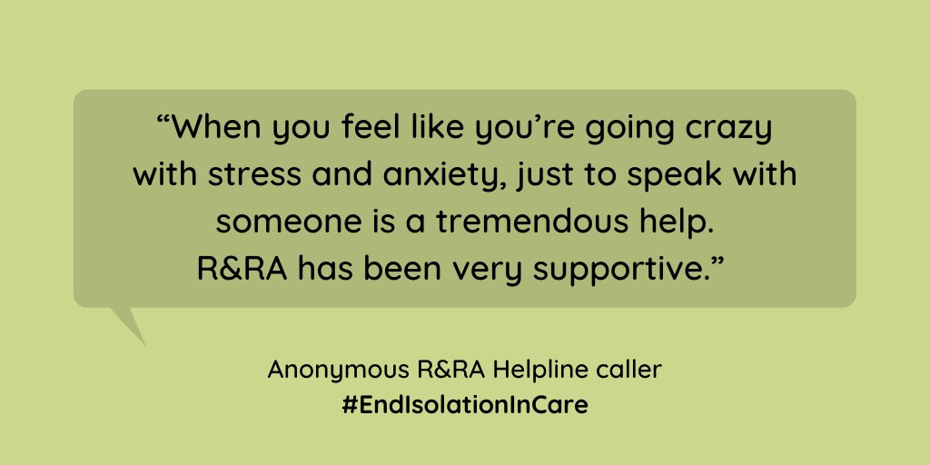 """In these challenging times our helpline has been a """"lifeline"""" for older people needing care and their families. On #GivingTuesday please support our work by becoming a member of R&RA. Thank you"""