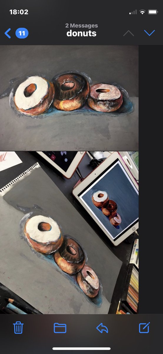 Excellent donuts in oil pastels taking influence from Wayne Thiebaud by Keiran C in year 10. Very impressed young man #art #oilpastel #wolfreton #excellence #proud #wegotthis