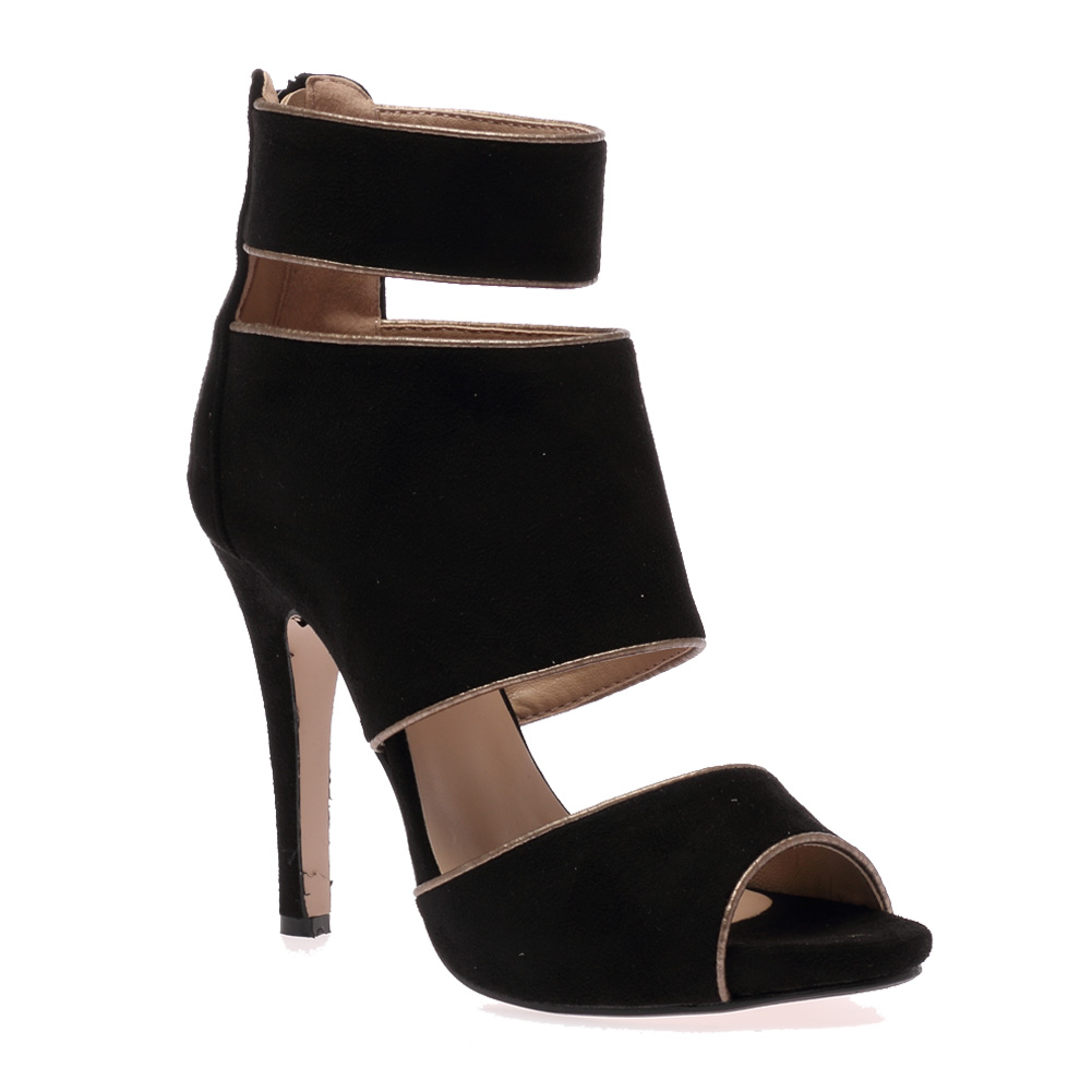 Lita Black Cut Out Heels  #fashion