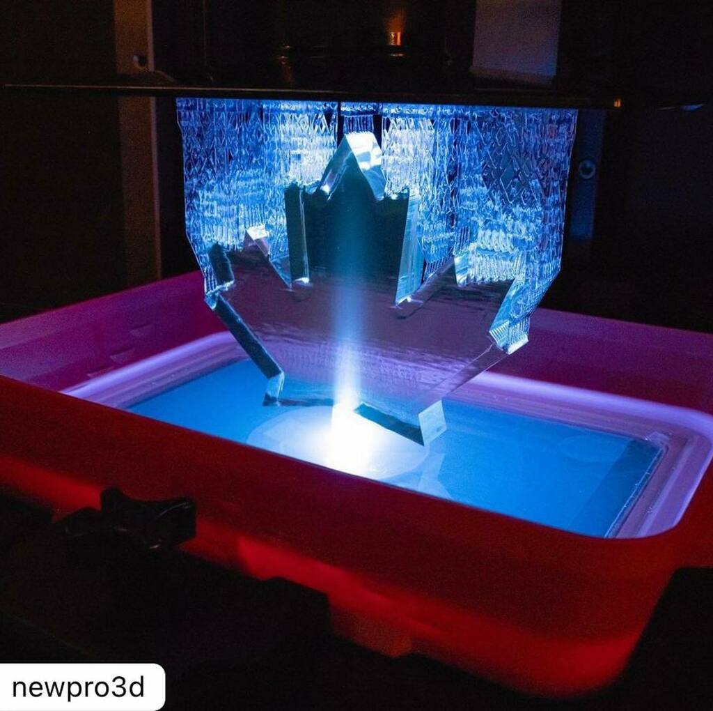 #Repost @newpro3d Happy birthday, Canada!   Look at how the stem being printed illuminates the Leaf 🍁!!   #canadaday  #dlpprinter #dlp3dprinter #3dprinting #digitalmanufacturing #additivemanufacturing