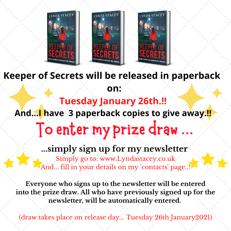 PRIZE DRAW... GIVEAWAY.!!  Keeper of Secrets will be released in paperback on January 26th... to celebrate, I'm giving away 3 paperback copies... in a prize draw.!!   Go to:  and sign up to my newsletter to enter x