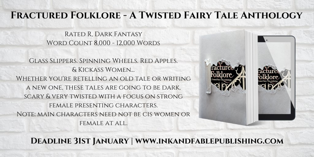 GLASS SLIPPERS. SPINNING WHEELS. RED APPLES. KICKASS WOMEN.  Get involved and submit a #shortstory for our dark, twisted #anthology: Fractured Folklore 🍎🐺👑💀 deadline end of January.   Submit via contactus@inkandfablepublishing.com! #writingcommunity #amwriting #fairytale https://t.co/AQBoRLqOGR