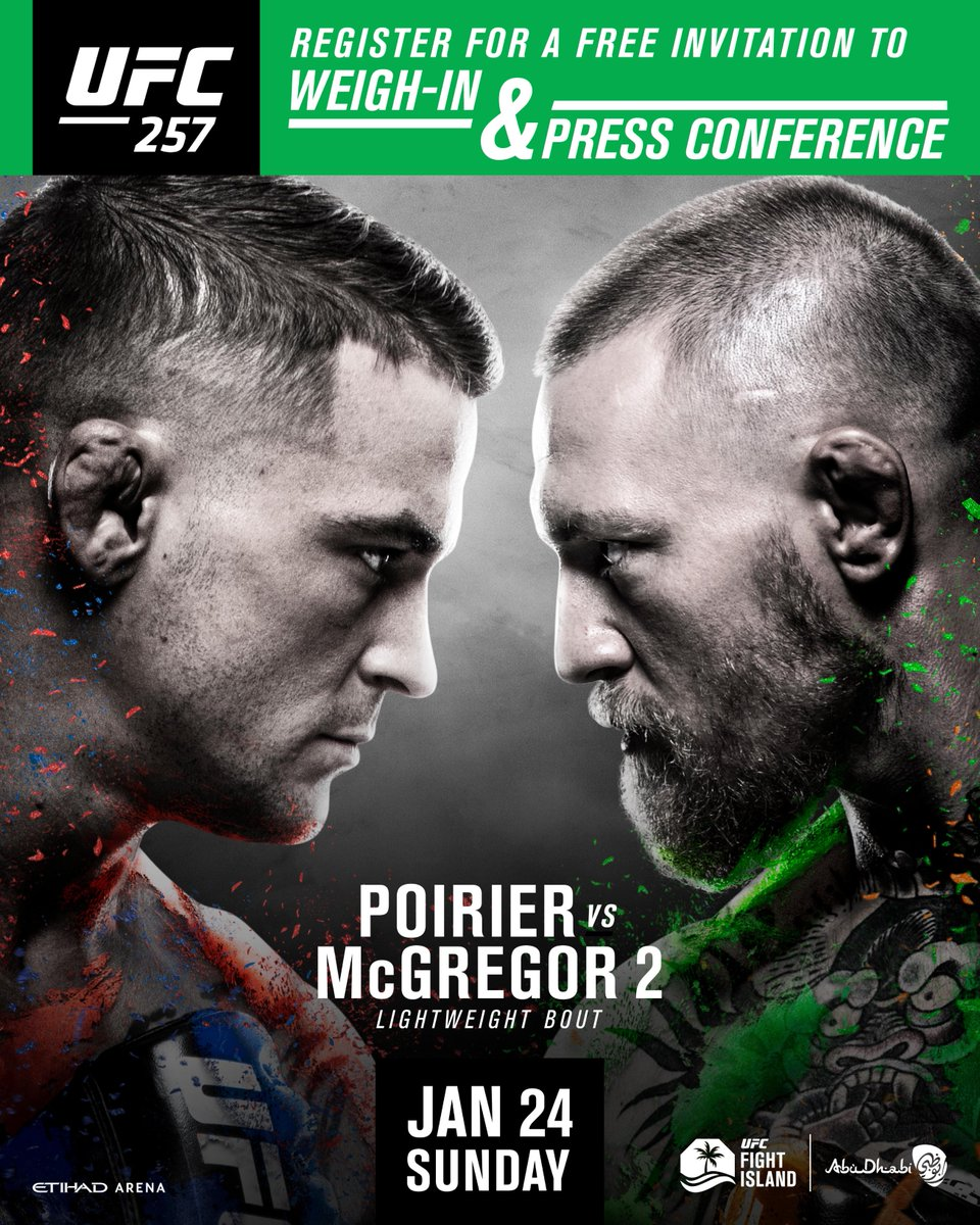You're invited!     All UFC fans can now register to attend the #UFC257 weigh-in and press conference via this link: https://t.co/EMupsl4Tkz   Hurry, limited seats are available!   Don't forget, all attendees must provide a valid 48 hour PCR test at the gates. https://t.co/1P9ai6nQyM