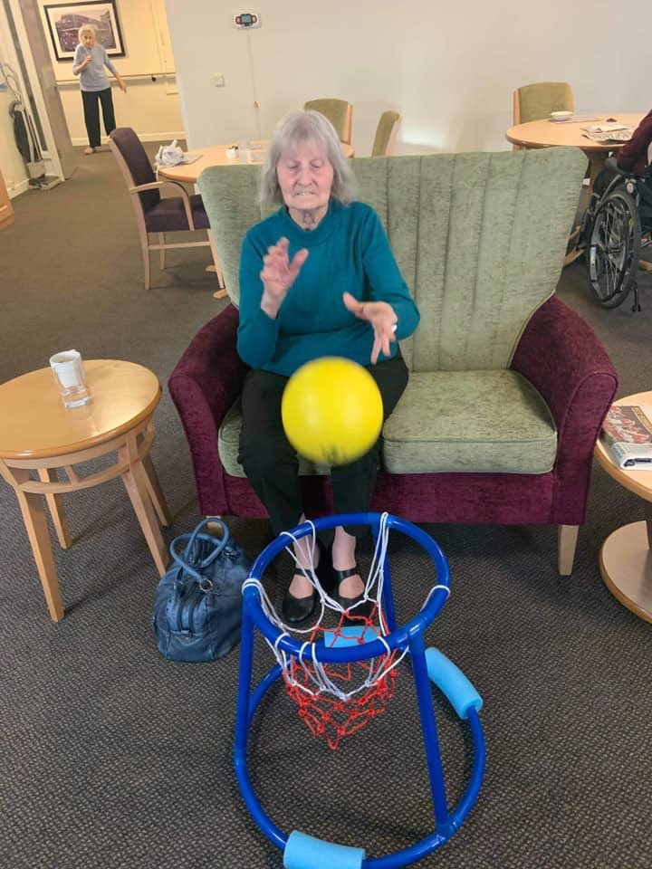 A bit of netball this morning  Thank you for the photos Tanya  ~Emma   #Community #January #Winter #caring #activities #Friends #Family #StaySafe #personcentredcare #holistic #carehome #socialcare #happyliving #Livewell #meaningfulengagement #Anchor #Anchoractive @AnchorHanover