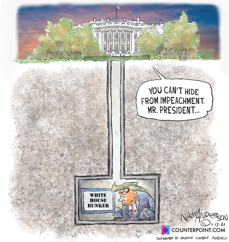 """#impeachment #ImpeachandRemove #Inauguration2021   Mitch McConnell said publicly for the first time that the insurrectionists who stormed the Capitol were """"provoked by the president."""" """"The mob was fed lies""""  (NYT)  Hope you're having a nice last day there, Donnie! 😎 `"""