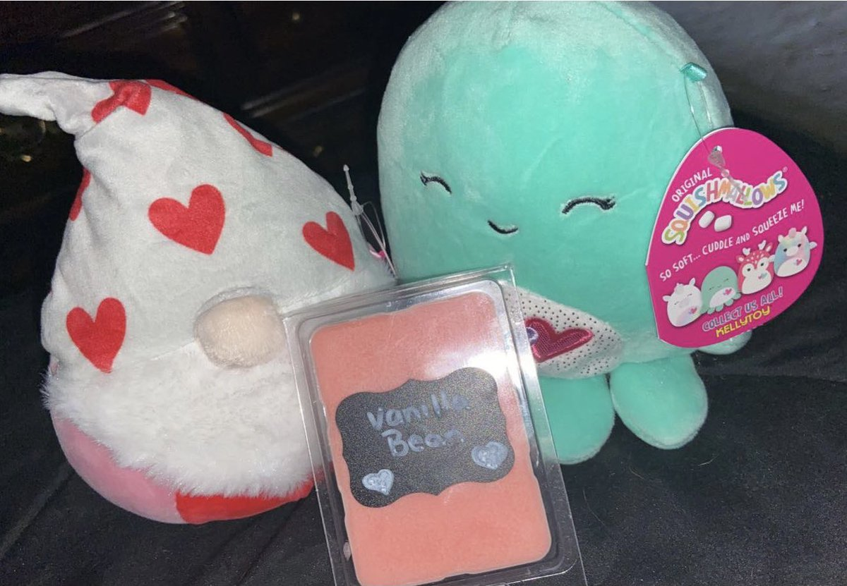 ❤️GIVEAWAY TIME ❤️  Winner receives two valentine's day squishmallows and a vanilla bean clamshell wax melt!   RULES:  1: Like/RT post  2: Tag some friends!  3: Must Be Following  EXTRA ENTRIES:   -Make any purchase from my shop (+10 entries)    ENDS 1/31