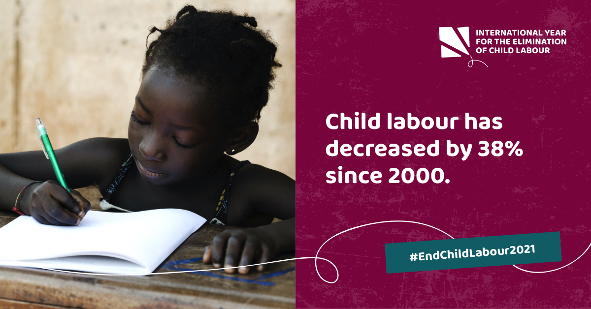 Child labour has decreased by 38% since 2000, from 246 to 152 million children. International awareness is growing. Our goal to eliminate #childlabour is within reach.   Join us to help achieve our goal:    #EndChildLabour2021